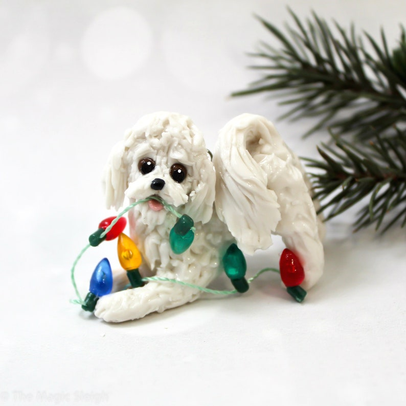 Bichon Frise Dog Porcelain Christmas Ornament Figurine With Etsy