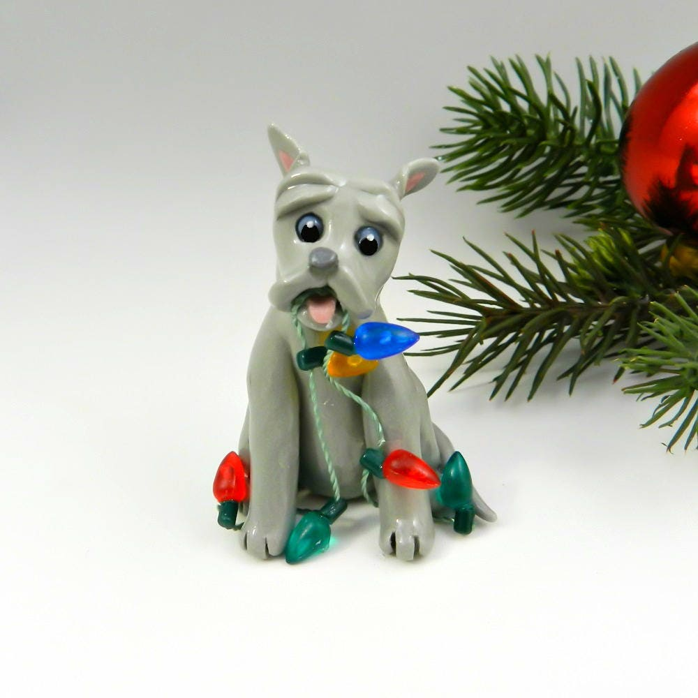 pitbull american bulldog bluenose porcelain christmas ornament figurine lights