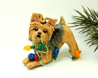Yorkie Yorkshire Terrier PORCELAIN Clay Christmas Ornament Figurine Lights