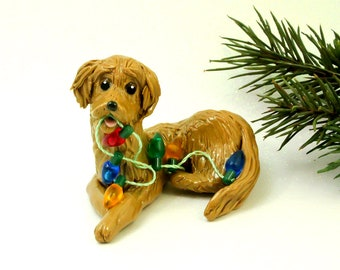 Golden Retriever PORCELAIN Christmas Ornament Figurine Lights