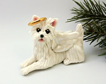 Angel West Highland White Terrier Westie PORCELAIN Clay Ornament Figurine