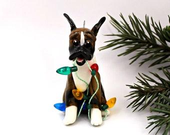 Boxer Brindle PORCELAIN Christmas Ornament Figurine Lights