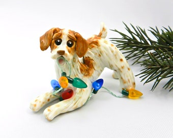 Brittany Dog Orange Porcelain Christmas Ornament Figurine Handmade