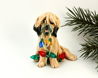 Lhasa Apso Gold Sable PORCELAIN Christmas Ornament Figurine with Lights