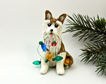 Siberian Husky Red PORCELAIN Christmas Ornament Figurine with Lights