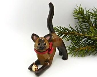 Burmese Siamese Cat Porcelain Christmas Ornament Figurine Gold Ball