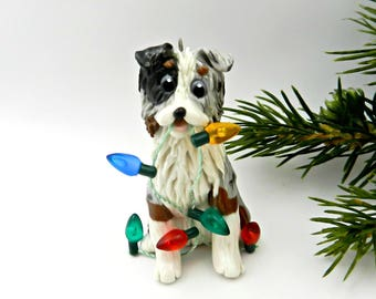Australian Shepherd Blue Merle PORCELAIN Christmas Ornament Figurine Lights OOAK