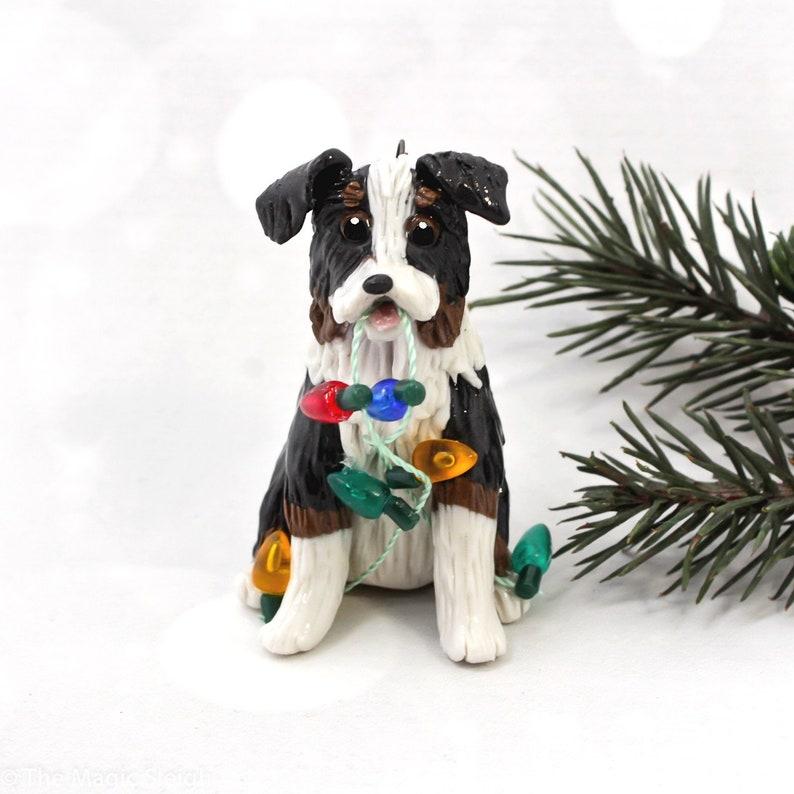 Australian Shepherd Christmas Ornament.Australian Shepherd Tricolor Porcelain Christmas Ornament Figurine Lights