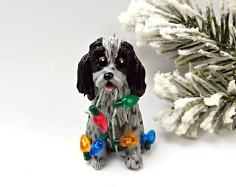 English Cocker Spaniel Blue Roan PORCELAIN Christmas Ornament Figurine Clay