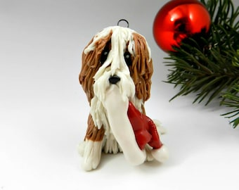 Bearded Collie Fawn Christmas Ornament Santa Hat Porcelain