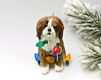 Polish Lowland Sheepdog Christmas Ornament Lights Porcelain