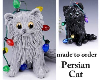 Persian Cat PORCELAIN Christmas Ornament Figurine Made to Order