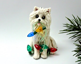 American Eskimo Dog PORCELAIN Christmas Ornament Figurine OOAK