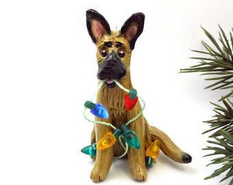 Belgian Malinois PORCELAIN Christmas Ornament Figurine Lights
