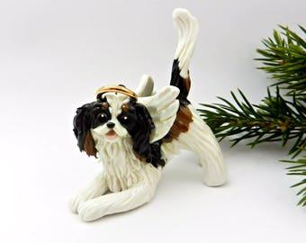 Cavalier King Charles Spaniel TriColor Angel Porcelain Christmas Ornament Figurine