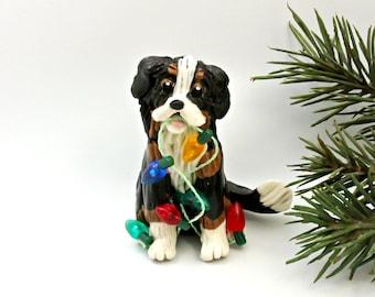Bernese Mountain Dog PORCELAIN Christmas Ornament Figurine Lights OOAK