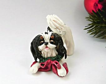 Japanese Chin Black Christmas Ornament Figurine Wreath OOAK Porcelain