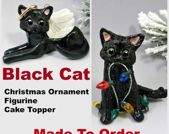 Black Cat Christmas Ornament Figurine Made to Order in Porcelain