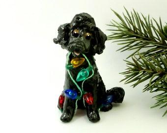 Poodle Black Porcelain Christmas Ornament Figurine Handmade