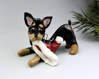 Min Pin Doberman Pinscher Christmas Ornament Figurine  Santa Hat Porcelain Clearance