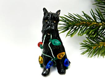 Bouvier des Flandres Black Christmas Ornament Figurine Porcelain