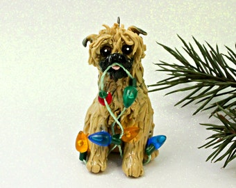Brussels Griffon Belge PORCELAIN Christmas Ornament Figurine Lights