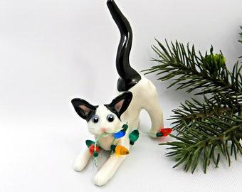 Oriental Shorthair White Black Cat Porcelain Christmas Ornament Lights
