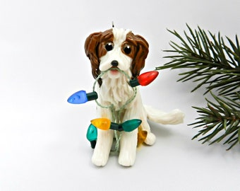 Kooikerhondje Porcelain Christmas Ornament Figurine with Lights OOAK