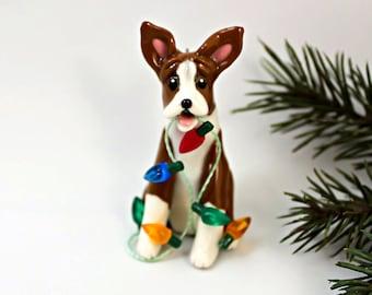 Basenji PORCELAIN Christmas Ornament Figurine with Lights