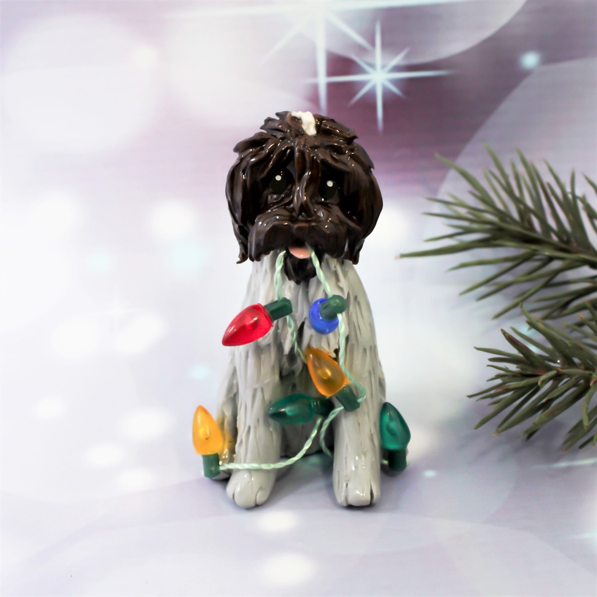 Wirehaired Pointing Griffon Porcelain Christmas Ornament ...