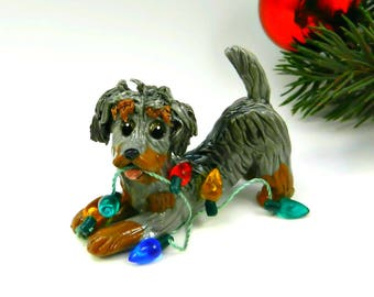 Dachshund WireHaired Christmas Ornament Figurine Lights Porcelain