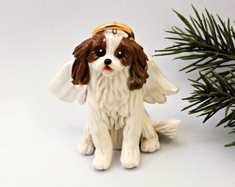 Angel Cavalier King Charles Spaniel PORCELAIN Christmas Ornament Figurine Memorial