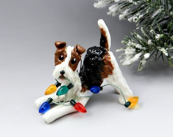 Wire Fox Terrier PORCELAIN Christmas Ornament Figurine Lights