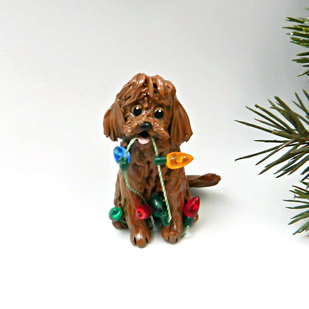 golden doodle labradoodle red christmas ornament figurine lights porcelain