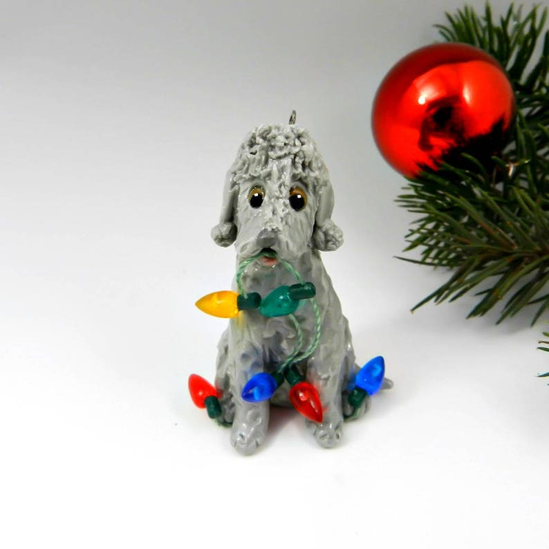 Bedlington Terrier Blue Porcelain Christmas Ornament Figurine Etsy