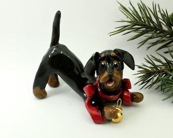 Dachshund Black Tan Porcelain Christmas Ornament Figurine Gold Ball