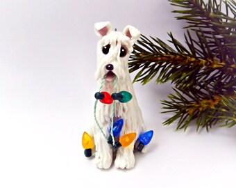 Schnauzer White Porcelain Christmas Ornament Figurine Lights