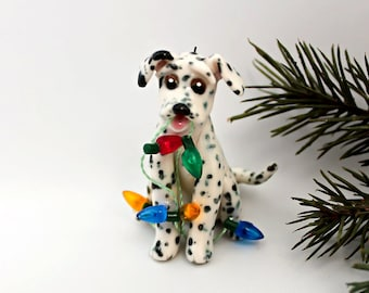 Dalmatian PORCELAIN Christmas Ornament Figurine with Lights