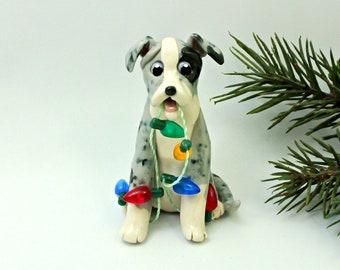 Catahoula Blue Leopard Dog PORCELAIN Christmas Ornament Lights Clay