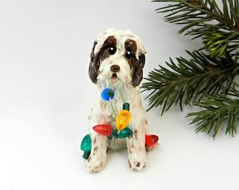 Spinone Italiano Porcelain Christmas Ornament Figurine Lights Brown Roan