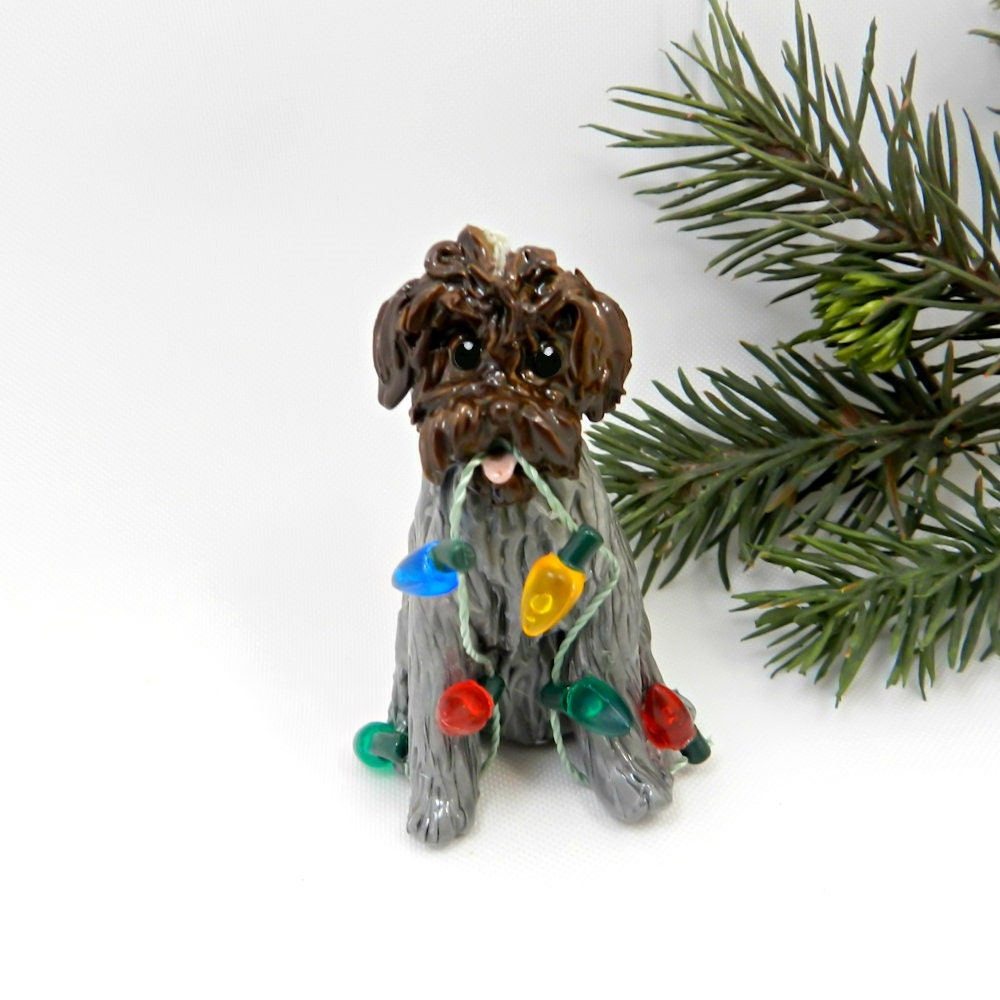 Wirehaired Pointing Griffon Dog Porcelain Christmas Ornament ...