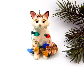 Bengal Cat Cinnamon Porcelain Christmas Ornament Figurine Lights