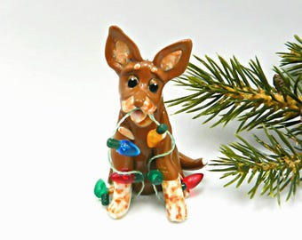 Australian Cattle Dog Red Heeler Christmas Ornament Lights Figurine Porcelain