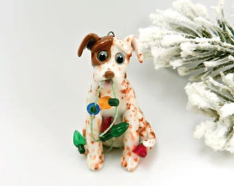 Catahoula Red Leopard Dog Christmas Ornament Lights Porcelain