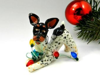 Toy Fox Terrier Rat Terrier PORCELAIN Christmas Ornament Figurine Lights Clay OOAK