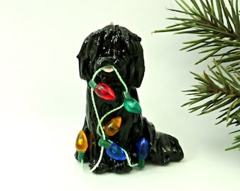 Shih Tzu Black PORCELAIN Christmas Ornament Figurine Lights Handmade