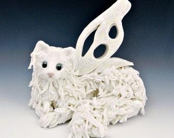 Fairy Cat White Roses Figurine Sculpture Porcelain OOAK