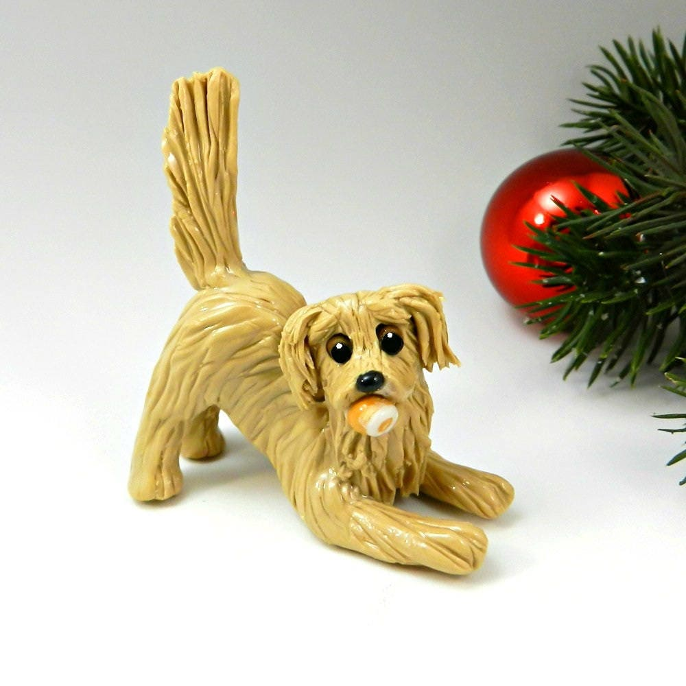golden retriever christmas ornament figurine tennis ball porcelain