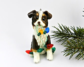 Australian Shepherd BROWN Tricolor Porcelain Christmas Ornament Figurine