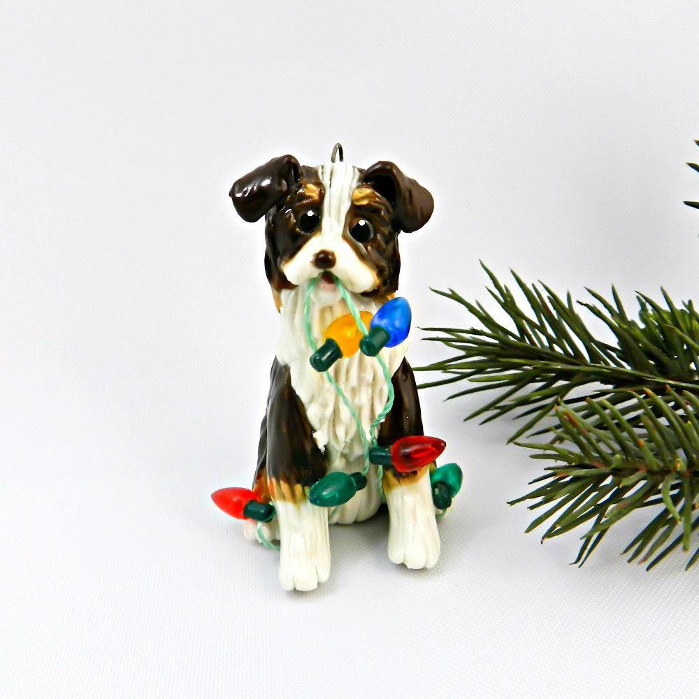 Australian Shepherd Christmas Ornament.Australian Shepherd Brown Tricolor Porcelain Christmas
